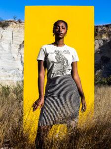 Zahra wearing The Water Girl t-shirt